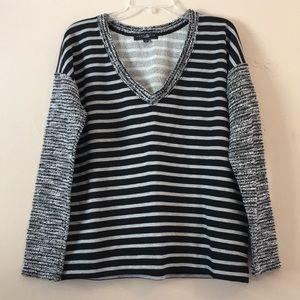 Sanctuary Knit Striped V-Neck Pullover Sweater